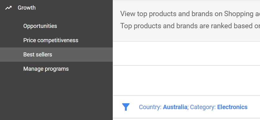 Where to find best selling product categories in Google